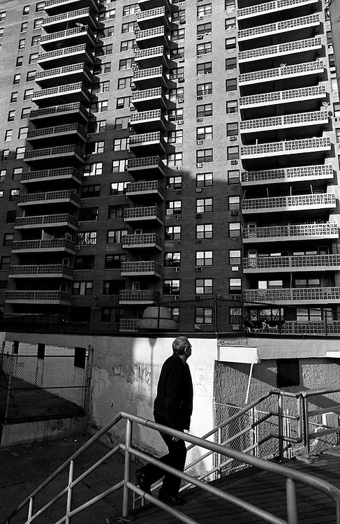 "Apartment building on beach between Coney Island and Brighton Beach...Part of long-term (2005-2008) story ""I See A Darkness"". New York, NY."