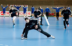Primoz Prost of Goeppingen at warming up prior to the handball match between RK Cimos Koper and Frisch Auf Goeppingen (GER) in 3rd Round of EHF Cup 2012/2013, on February 23, 2013 in Arena Bonifika, Koper, Slovenia. (Photo By Vid Ponikvar / Sportida)