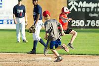 KELOWNA, BC - JULY 24: Young kids run the base race at Elks Stadium on July 24, 2019 in Kelowna, Canada. (Photo by Marissa Baecker/Shoot the Breeze)