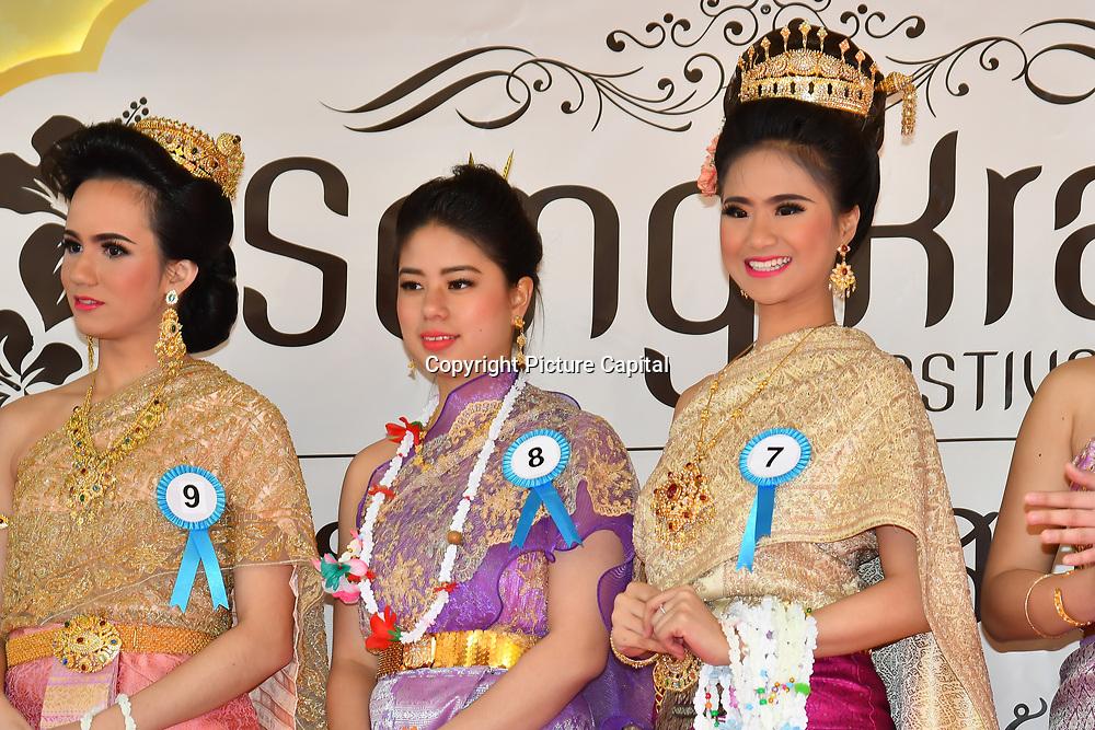 London, UK. 14th April, 2019. Miss Songkran London 2019 - Celebrates Thai New Year (Songkran) at Buddhapadipa Temple in Wimbledon known as Songkran Water Festival, London, UK.