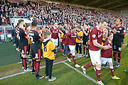 Cobblers are given a guard of honour during the Sky Bet League 2 match between Northampton Town and Crawley Town at Sixfields Stadium, Northampton, England on 19 April 2016. Photo by Dennis Goodwin.