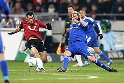 10.12.2011, AWD Arena, Hannover, GER, 1.FBL, Hannover 96 vs Bayer 04 Leverkusen, im Bild Sergio Pinto (Hannover 96) im Zweikampf mit Stefan Kiessling (Bayer 04 Leverkusen) // during the Match GER, 1.FBL, Hannover 96 vs Bayer 04 Leverkusen, AWD Arena, Hannover, Germany, on 2011/12/10. EXPA Pictures © 2011, PhotoCredit: EXPA/ nph/ SielskiSielski..***** ATTENTION - OUT OF GER, CRO *****