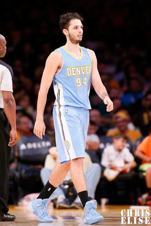 05 January 2014: Denver Nuggets shooting guard Evan Fournier (94) is seen during the Denver Nuggets 137-115 victory over the Los Angeles Lakers at the Staples Center, Los Angeles, California, USA.