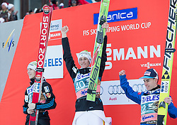 20.03.2015, Planica, Ratece, SLO, FIS Weltcup Ski Sprung, Planica, Finale, Skifliegen, im Bild Siegerehrung, v.l.: Jurij Tepes (SLO, 2.Platz), Peter Prevc (SLO, 1. Platz) und Stefan Kraft (AUT, 3. Platz) // during the Ski Flying Individual Competition of the FIS Ski jumping Worldcup Cup finals at Planica in Ratece, Slovenia on 2015/03/20. EXPA Pictures © 2015, PhotoCredit: EXPA/ JFK