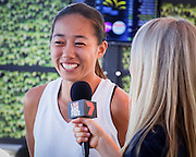 January 07, 2017: China's top ranked player Zhang Shuai speaks to the media following the draw ceremony for the Apia International Sydney 2017 at Sydney Olympic Park Tennis Centre. (Photo by Hugh Peterswald/Icon Sportswire)