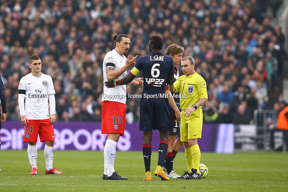 Arbitre Lionel Jaffredo / Zlatan Ibrahimovic / Ludovic Sane - 15.03.2015 - Bordeaux / Paris Saint Germain - 29e journee Ligue 1<br />