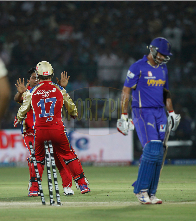 Royal Challengers Bangalore player KP Appanna celebrates the wicket of Rajasthan Royals player Owasis Shah during match 30 of the the Indian Premier League ( IPL) 2012  between The Rajasthan Royals and the Royal Challengers Bangalore held at the Sawai Mansingh Stadium in Jaipur on the 23rd April 2012..Photo by Pankaj Nangia/IPL/SPORTZPICS