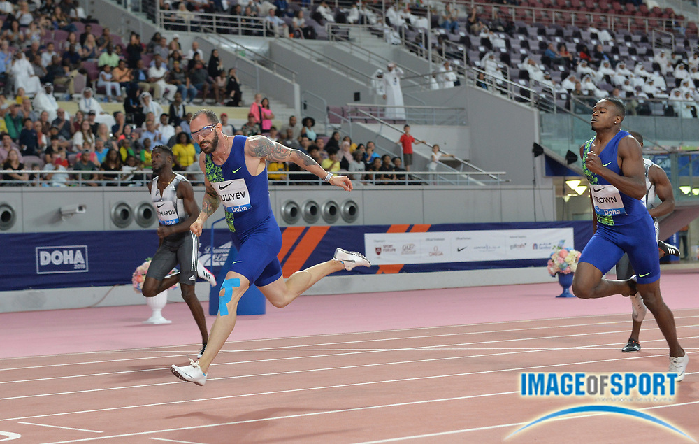 Ramil Guliyev (TUR) defeats Aaron Brown (CAN) to win the 200m in 19.99 during the IAAF Doha Diamond League 2019 at Khalifa International Stadium, Friday, May 3, 2019, in Doha, Qatar