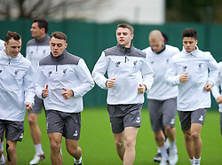 LIVERPOOL, ENGLAND - Wednesday, December 9, 2015: Liverpool's Connor Randall and Jordan Rossiter during a training session at Melwood Training Ground ahead of the UEFA Europa League Group Stage Group B match against FC Sion. (Pic by David Rawcliffe/Propaganda)