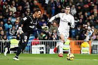 Beto of Sevilla and Gareth Bale of Real Madrid during La Liga match between Real Madrid and Sevilla at Santiago Bernabeu Stadium in Madrid, Spain. February 04, 2015. (ALTERPHOTOS/Caro Marin)