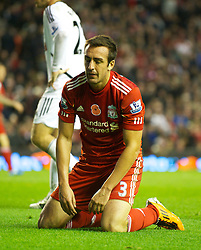 05.11.2011, Anfield Stadion, Liverpool, ENG, Premier League, FC Liverpool vs Swansea City, im Bild Liverpool's Jose Enrique looks dejected after missing a chance against Swansea City  // during the premier league match between FC Liverpool vs Swansea City at Anfield Stadium, Liverpool, EnG on 05/11/2011. EXPA Pictures © 2011, PhotoCredit: EXPA/ Propaganda Photo/ David Rawcliff +++++ ATTENTION - OUT OF ENGLAND/GBR+++++