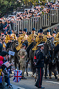 The Band of the Household Cavalry pauses outside St Pauls - The new Lord Mayor (Peter Estlin, the 691st) was sworn in yesterday. To celebrate, today is the annual Lord Mayor's Show. It includes Military bands, vintage buses, Dhol drummers, a combine harvester and a giant nodding dog in the three-mile-long procession. It brings together over 7,000 people, 200 horses and 140 motor and steam-driven vehicles in an event that dates back to the 13th century. The Lord Mayor of the City of London rides in the gold State Coach.