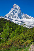 Walking trail below the Matterhorn mountain in the Swiss Alps near Zermatt, Switzerland