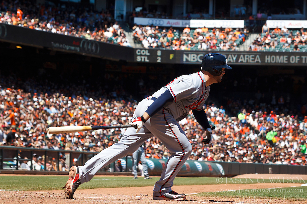 SAN FRANCISCO, CA - MAY 12: Brian McCann #16 of the Atlanta Braves at bat against the San Francisco Giants during the sixth inning at AT&T Park on May 12, 2013 in San Francisco, California. The San Francisco Giants defeated the Atlanta Braves 5-1. (Photo by Jason O. Watson/Getty Images) *** Local Caption *** Brian McCann