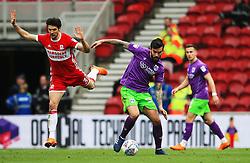 Marlon Pack of Bristol City takes on George Friend of Middlesbrough - Mandatory by-line: Matt McNulty/JMP - 14/04/2018 - FOOTBALL - Riverside Stadium - Middlesbrough, England - Middlesbrough v Bristol City - Sky Bet Championship