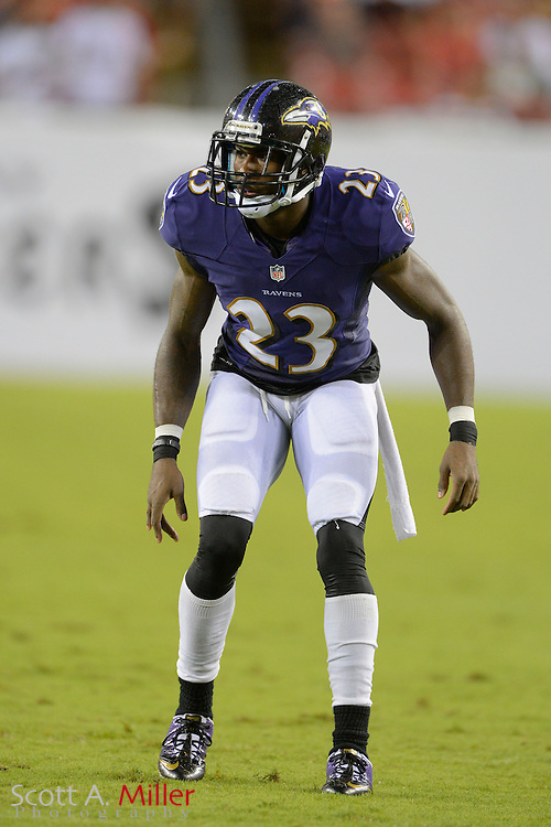 Baltimore Ravens defensive back Chykie Brown (23) during a preseason NFL game at Raymond James Stadium on Aug. 8, 2013 in Tampa, Florida. <br /> <br /> &copy;2013 Scott A. Miller