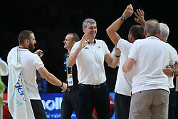 Ainars Bagatskis, head coach of Latvia celebrates after winning during basketball match between Latvia and Slovenia at Day 8 in Round of 16 of FIBA Europe Eurobasket 2015, on September 12, 2015, in LOSC Lile stadium, Croatia. Photo by Marko Metlas / MN PRESS PHOTO / SPORTIDA