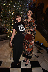 Daisy Lowe and Erin O'connor at reception to celebrate the launch of the Claridge's Christmas Tree 2017 at Claridge's Hotel, Brook Street, London England. 28 November 2017.<br /> Photo by Dominic O'Neill/SilverHub 0203 174 1069 sales@silverhubmedia.com