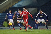 Swindon Town midfielder Fabien Robert and Chesterfield FC miffielder Sam Morsy challenge for the ball during the Sky Bet League 1 match between Chesterfield and Swindon Town at the Proact stadium, Chesterfield, England on 28 November 2015. Photo by Aaron Lupton.