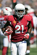 Arizona Cardinals defensive back Patrick Peterson (21) runs with the ball as he celebrates after intercepting a third quarter pass at the Cardinals 2 yard line during the 2018 NFL regular season week 2 football game against the Los Angeles Rams on Sunday, Sept. 16, 2018 in Los Angeles. The Rams won the game in a 34-0 shutout. (©Paul Anthony Spinelli)