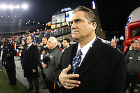 December 2008: Pictures from the NFL Total Access set in Various cities for the 2008 NFL Network Season. Steve Mariucci stands for the National Anthem in Foxoboro, MA.