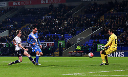Eastleigh's Kaid Mohamed scores to make it 2-2 - Mandatory byline: Matt McNulty/JMP - 19/01/2016 - FOOTBALL - Macron Stadium - Bolton, England - Bolton Wanderers v Eastleigh - FA Cup Third Round