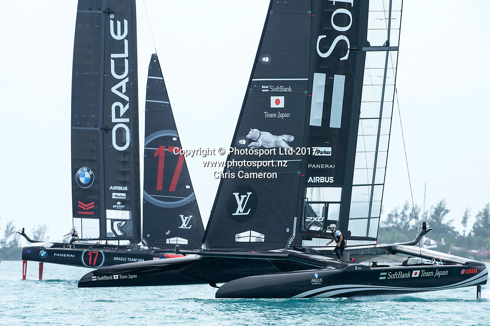The Great Sound, Bermuda. 1st June 2017. Groupama Team France round the top mark in race four of Round Robin two against Soft Bank Team Japan. America's Cup Qualifiers.<br /> Copyright photo: Chris Cameron / www.photosport.nz<br /> For editorial news use only NO AGENTS