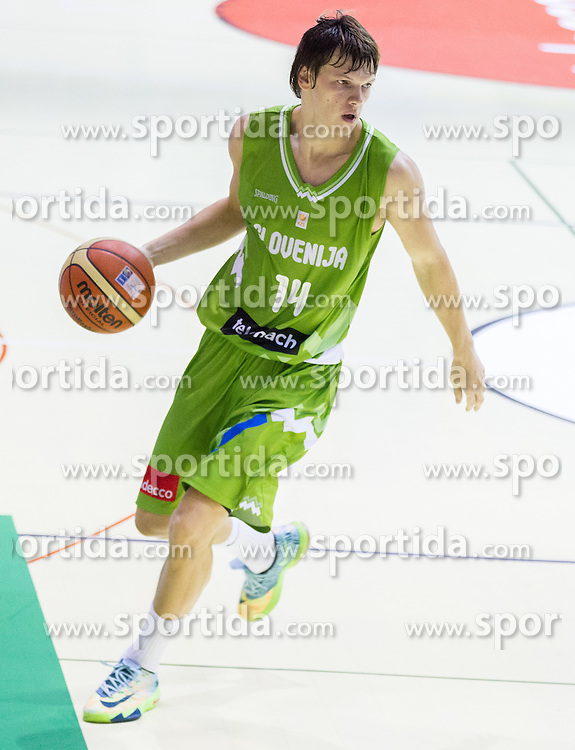 Jaka Klobucar of Slovenia during friendly basketball match between National teams of Slovenia and Georgia in day 2 of Adecco Cup 2014, on July 25, 2014 in Dvorana OS 1, Murska Sobota, Slovenia. Photo by Vid Ponikvar / Sportida.com