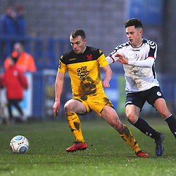 TELFORD COPYRIGHT MIKE SHERIDAN 19/1/2019 - Ryan Barnett of AFC Telford (on loan from Shrewsbury Town Football Club) closes down Sam Austin during the Vanarama Conference North fixture between AFC Telford United and Kidderminster Harriers