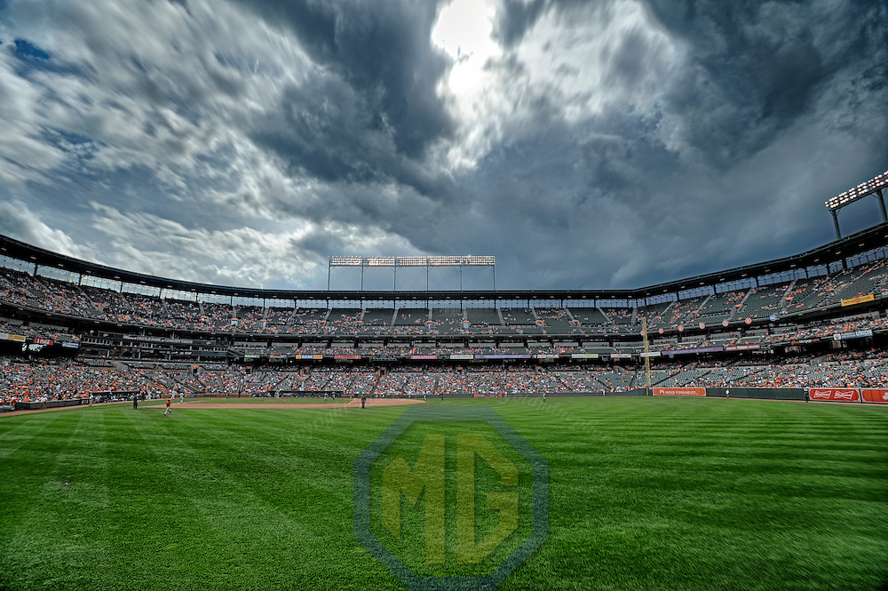 05 June 2016:  A 17 frame High Dynamic Range image of at Orioles Park at Camden Yards in Baltimore, MD. as a storm approaches.  (Photograph by Mark Goldman/Icon Sportswire)