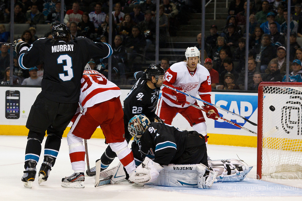 Nov 17, 2011; San Jose, CA, USA; Detroit Red Wings defenseman Niklas Kronwall (not pictured) scores a goal past San Jose Sharks goalie Antti Niemi (31) during the first period at HP Pavilion.  Mandatory Credit: Jason O. Watson-US PRESSWIRE