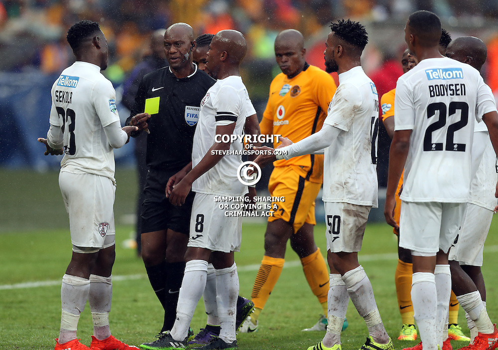 Moeketsi Sekola of Free State Stars gets a yellow card from Referee Mr Victor Hlungwani during the Telkom Knockout quarterfinal  match between Kaizer Chiefs and Free State Stars at the Moses Mabhida Stadium , Durban, South Africa.6 November 2016 - (Photo by Steve Haag Kaizer Chiefs)