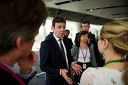 © London News Pictures. 29/05/2015. ANDY BURNHAM speaking to journalists after his speech. ANDY BURNHAM MP, Labour leadership candidate, delivers a speech on the economy in central London. Andy Burnham is one the favourites to take over as Labour Party leader following the resignation of Ed Miliband after a heavy general election defeat. Photo credit: Ben Cawthra/LNP