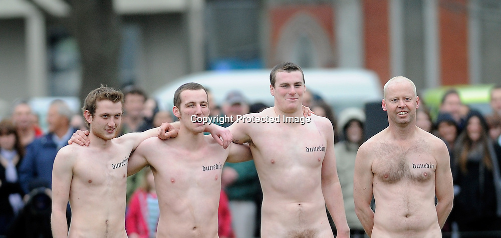 Nude Blacks stand together during an Nude Rugby match at Alhambra Union Rugby Football Club in Dunedin, New Zealand 2012. Saturday 15 September 2012. New Zealand. Photo: Richard Hood/photosport.co.nz