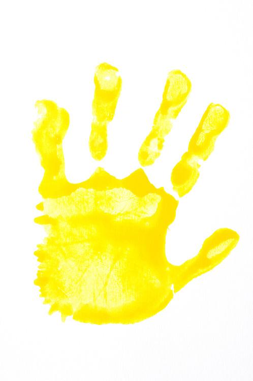 Hand print yellow left