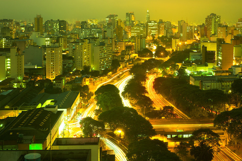 View of downtown skyline and  Avenue 23 de Maio, Sao Paulo, Brazil