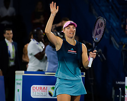 February 19, 2019 - Dubai, ARAB EMIRATES - IAngelique Kerber of Germany celebrates winning her second-round match at the 2019 Dubai Duty Free Tennis Championships WTA Premier 5 tennis tournament (Credit Image: © AFP7 via ZUMA Wire)