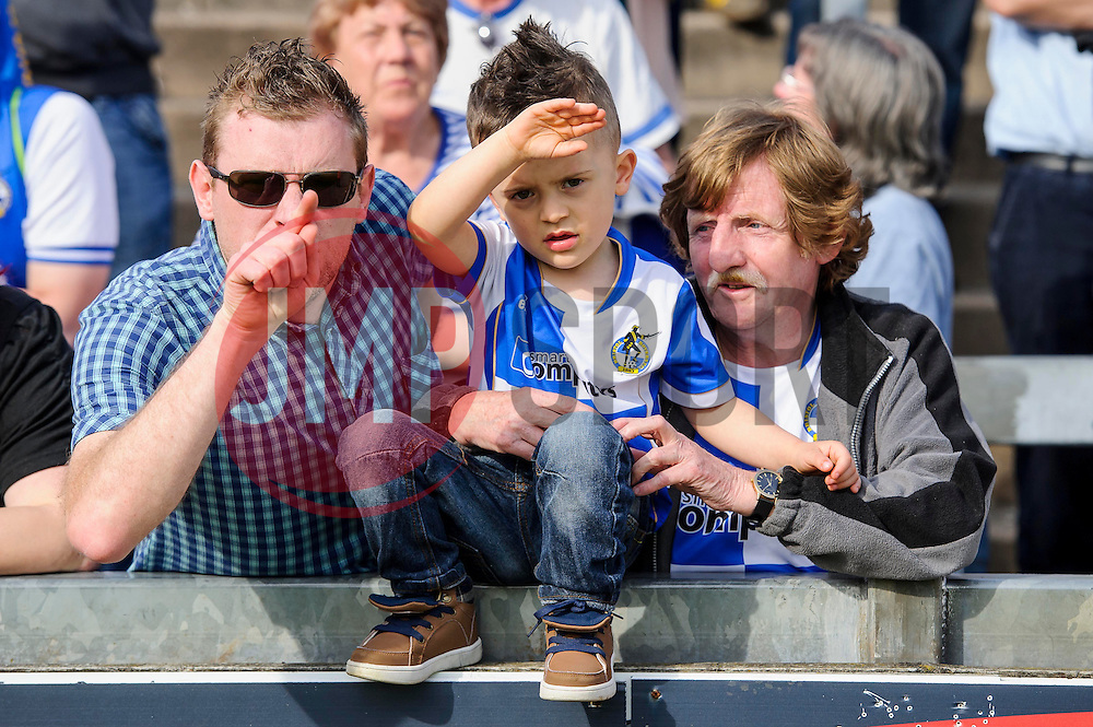 Bristol Rovers supporters look dejected after a 0-1 loss in the match to confirm their sides relegation from League 2 into the Conference division - Photo mandatory by-line: Rogan Thomson/JMP - 07966 386802 - 03/05/2014 - SPORT - FOOTBALL - Memorial Stadium, Bristol - Bristol Rovers v Mansfield Town - Sky Bet League Two. (Note: Mansfield are wearing a Rovers spare kit having forgotten their own).