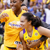 03 August 2014: Los Angeles Sparks forward/center Sandrine Gruda (7) celebrates with Los Angeles Sparks guard Kristi Toliver (20) during the Los Angeles Sparks 70-69 victory over the Connecticut Sun, at the Staples Center, Los Angeles, California, USA.