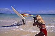 Windsurfing, Lanikai Beach, Oahu, Hawaii<br />