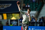 Quarter back Eli Manning of the New York Giants warms up during the International Series match between New York Giants and Los Angeles Rams at Twickenham, Richmond, United Kingdom on 23 October 2016. Photo by Jason Brown.