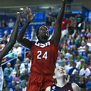 United States Center Jantel Lavender (24) drives to the basket in the first half of a USA Women's National Team Exhibition game between Red and White Thursday, Sept. 11, 2014 at The Bob Carpenter Sports Convocation Center in Newark, DEL