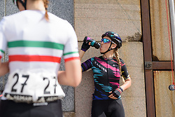 Pauline Ferrand Prevot keeps hydrated before the start at Trofeo Alfredo Binda 2017. A 131 km road race on March 19th 2017, from Taino to Cittiglio, Italy. (Photo by Sean Robinson/Velofocus)