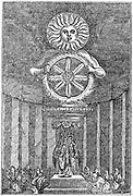 Saxon idol of the Sun. Wood engraving 1834