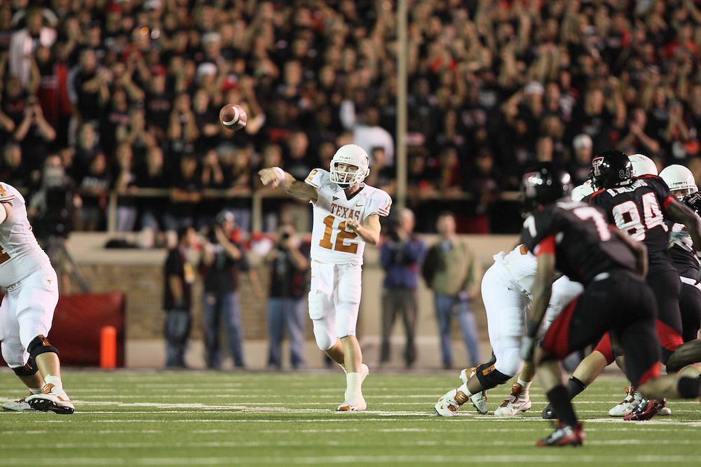 Colt McCoy, quarterback, Texas Longhorns. Texas at Texas Tech. Jones AT&T Stadium, Lubbock, Texas. November 1 2008. Photograph © 2008 Darren Carroll.