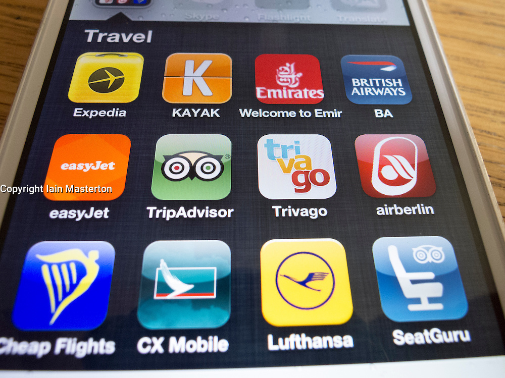 travel apps for iphone detail of many travel apps on a iphone 5 smart phone 9693