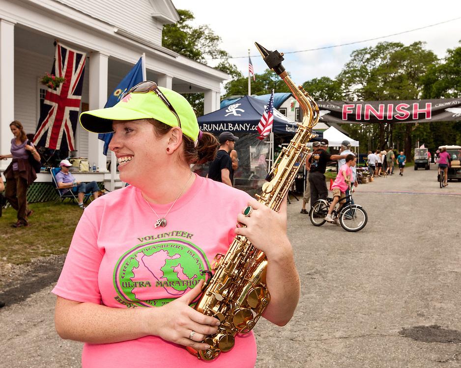 Great Cranberry Island Ultra 50K road race: Mary Ropp plays saxaphone