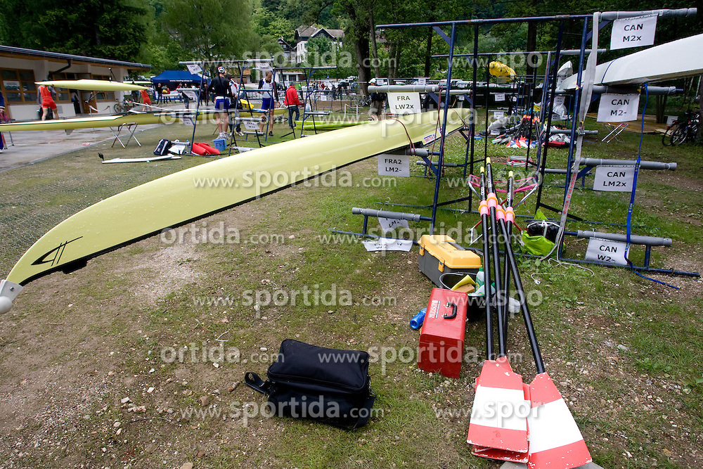 Boats at Rowing World Cup  on May 30, 2010, at Bled's lake in Mala Zaka, Bled, Slovenia. (Photo by Vid Ponikvar / Sportida)