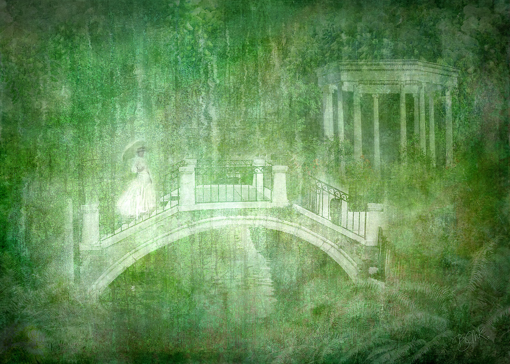 Ethereal rendition of a white lady crossing a bridge against a background of bountiful green vegetation