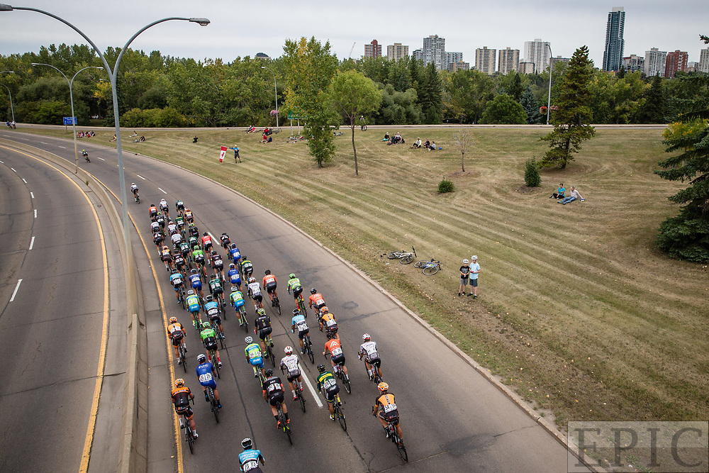 EDMONTON, ALBERTA, CAN - September 3: The peloton heads towards Edmonton during stage 3 of the Tour of Alberta on September 3, 2017 in Edmonton, Canada. (Photo by Jonathan Devich)